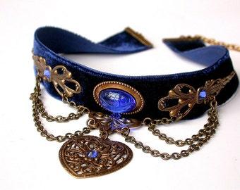 Blue Velvet Choker Pendant  - Blue Choker Heart -  Victorian Gothic Jewelry