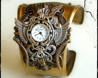 Men Women Steampunk Watch Gothic Watch for Men Women in Silver and Brass Unique Women Watch Steampunk Cuff Watch Game of Thrones Jewelry