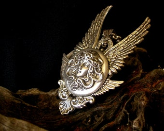 Gothic Necklace Silver Medusa Pendant Angel Wings Necklace Fantasy Jewelry Gothic Jewelry