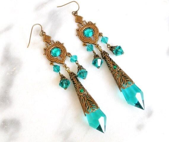Blue Zircon Crystal  Victorian Chantelier  Earrings - Victorian Jewelry