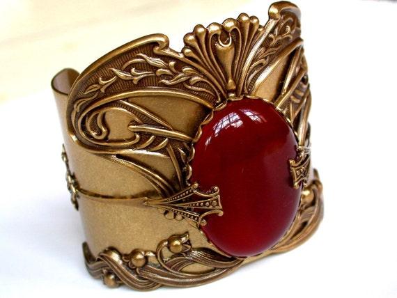 Art Nouveau Brass Cuff Bracelet - Carnelian Agate Gemstone - Women Victorian Bracelet