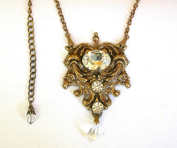 Gothic Crystal Necklace  - Swarovski Crystal on Oxidized Brass - Bridal Jewelry - Victorian Gothic Jewelry
