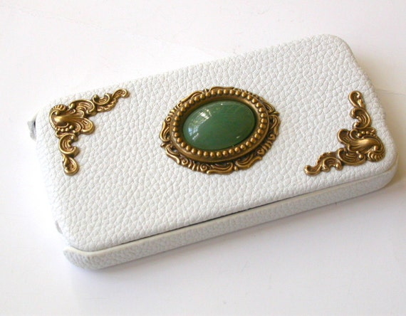 White  Leather Flip Case for iPhone 4 and 4s - Deep Green Aventurine Gemstone - Vintage iPhone Case