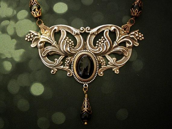 Silver  Victorian Necklace - Black Onyx Swarovski Pearls - Victorian Jewelry