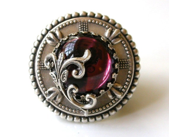 Oversized Statement Ring Amethyst Ring Cocktail Ring - Victorian Gothic Jewelry