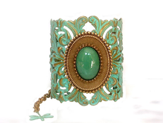 Victorian Lace Cuff Bracelet with Dragonflies - Verdigris Patina on brass