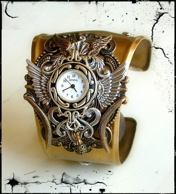 Gothic Steampunk Watch in Silver and Brass - Men Women Steam Punk Cuff Watch