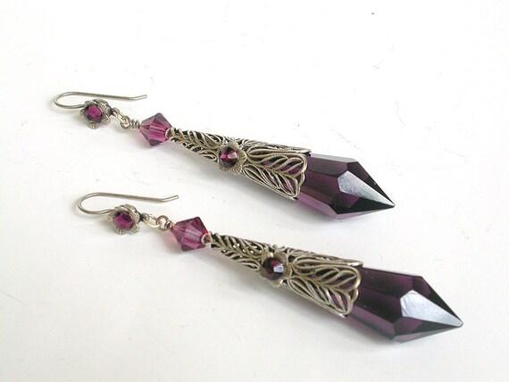 Purple Amethyst Teardrop Earrings - Victorian  Gothic Jewelry - Long Victorian Earrings