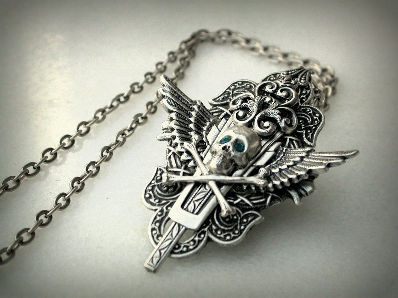 Gothic Silver Skull Necklace Men Women Gothic Jewelry