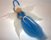 Needle felt Angel Winter faerie Waldorf style light blue and white Merino wool