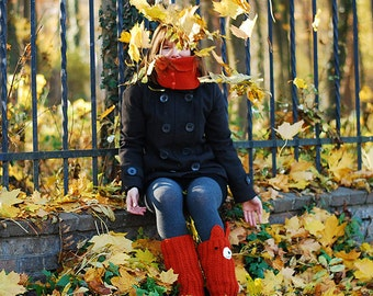FOXY LEG WARMERS Wool Knitting Autumn Fall Winter Cold Days Woman Feminine Cozy Ginger Red Fox