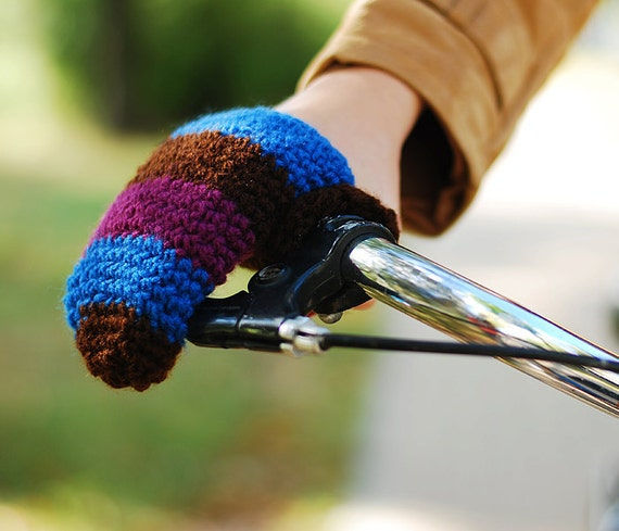Bike Gloves , Bike mittens, Wool Crochet Autumn Fall Winter Spring Cold Days Unisex Woman Man Teens Gift Cozy Blue Brown Violet