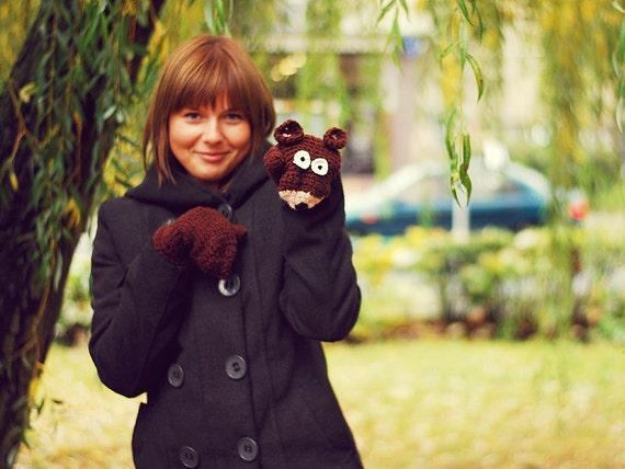 BEAR Gloves, crochet Warm Wool accessories, Autumn Fall Winter Cold Days Woman Girl Teens Cozy Brown Warm Forest Animals Woodland