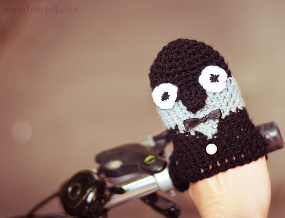 Ellegant PENGUIN BIKE HANDWARMERS Gloves Wool Crochet Cold Days Unisex Woman Man Teens Cozy Gift Black