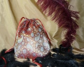 Farzan - Red and gold paisley brocade drawstring bag or purse, medium - reverseable