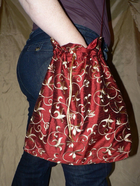 Scarlett - Large red silk dupion bag  or reticule with gold scroll embroidery.