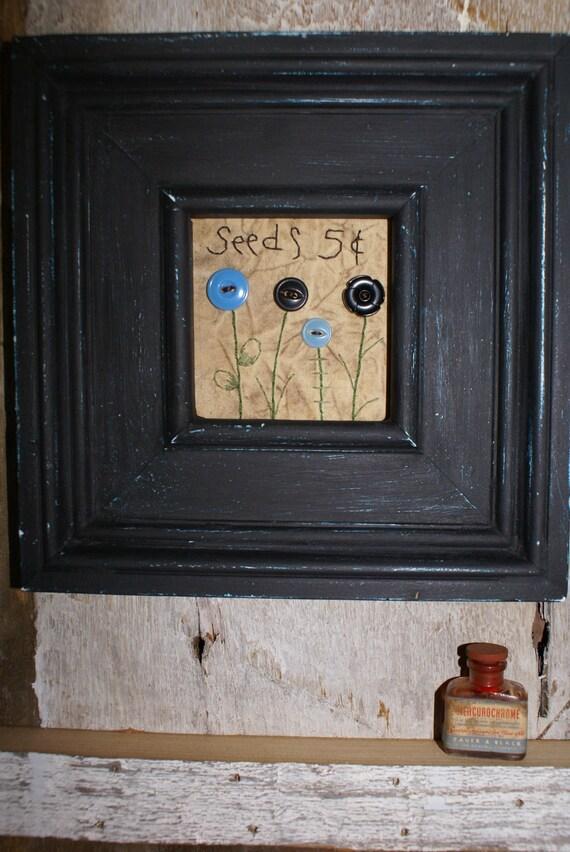 primitive folk art   flower button picture