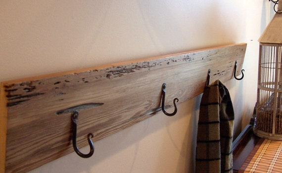 Sustainably Harvested Reclaimed Redwood Wall Coat Rack w/Four Iron Hooks Organize Mud Room Laundry Room Front Door Eco-Friendly