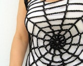 Gothic Halloween Spider Web Black Top