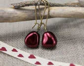 Mon Chérie - cherry red glass pearls and brass earrings, burgundy,love, gifts to her, on sale