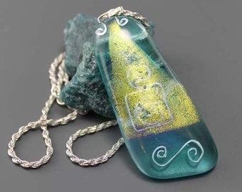 Aqua blue, pendant, sea, ice, sterling silver, cordell chain, mediterranien, gifts to her, winter