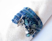 Batik Wrap Bracelet - Quad - Blue and Silver - Medium or Large