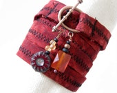 RESERVED on approval - Fabric Wrap Bracelet with Beaded Dangles - Five - Red, Burgundy, Black - Small