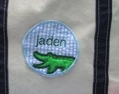 ALLIGATOR FREE personalization blue seersucker embroidered applique patch