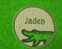 ALLIGATOR FREE personalization green seersucker embroidered applique patch