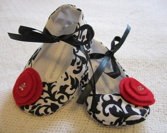 black, white and red baby shoes- soft sole, damask