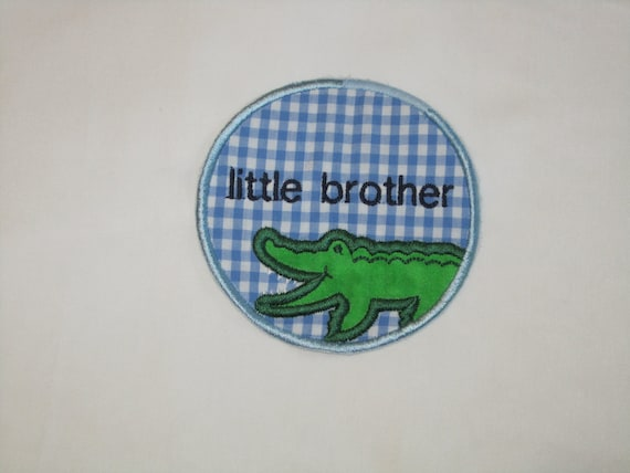 ALLIGATOR free personalization, LITTLE brother, BIG brother, blue gingham embroidered applique patch