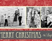 Custom Personalized Christmas Photo Card, Red, Vintage