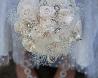 DEPOSIT for Real Rose  with Brooch Vintage Victorian Andrea Bridal Bouquet