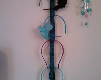 Blue and Black Ribbon Headband Holder