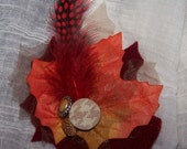 Fall Foliage Leaf Pin with Vintage Buttons and UPcycled Wool