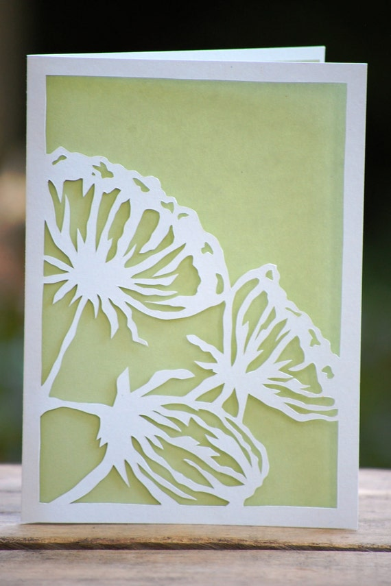 Items similar to flower silhouettes handmade paper cut card on etsy for Easy paper cutting flowers