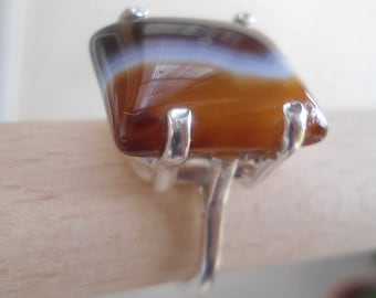 Silver Gemstone Ring -  Agate ring - Handmade Silver jewelry