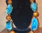 On sale now Huge Blue agate necklace