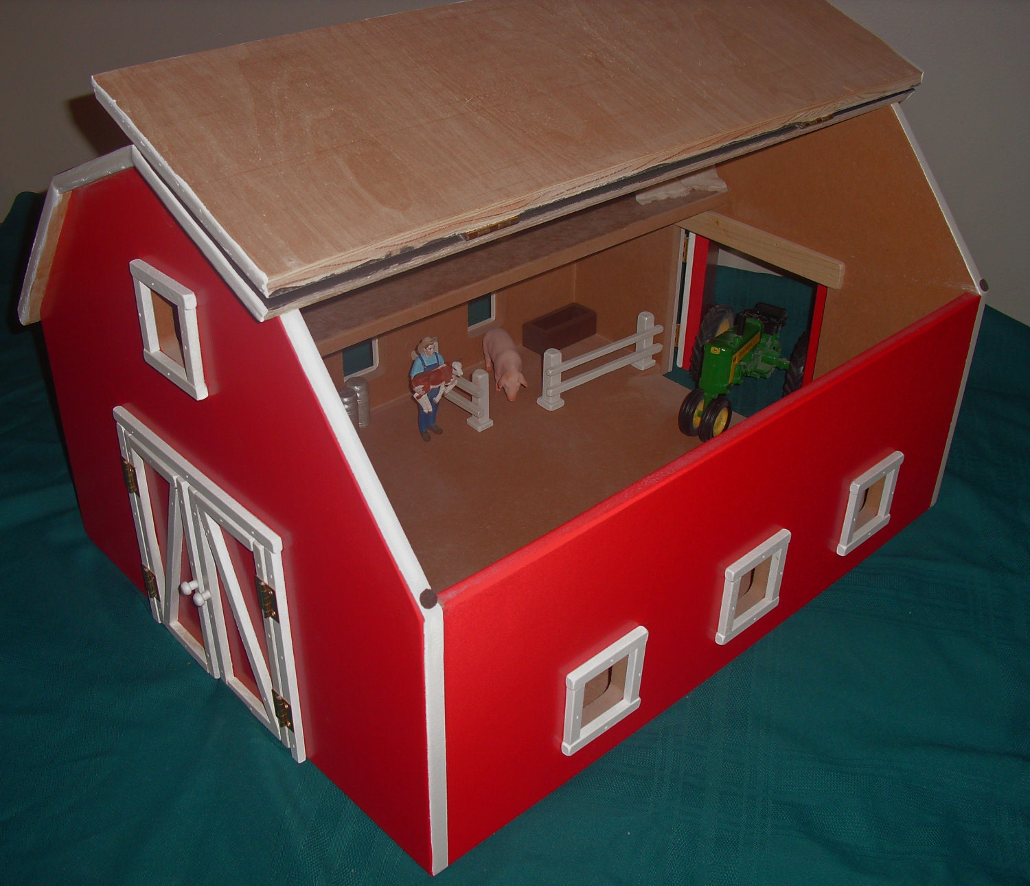 Hand crafted wooden toy barn