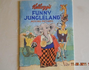 1930s Kellogg's Funny Jungleland moving pictures book