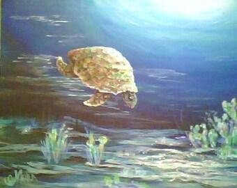 Sea Turtle  Original painting, Treasury, FREE SHIPPING