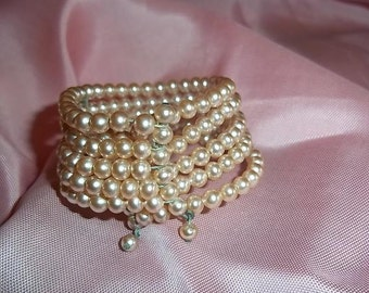 Childs faux Pink Pearl Five strand Bracelet