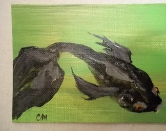 Black Goldfish, ACEO Original