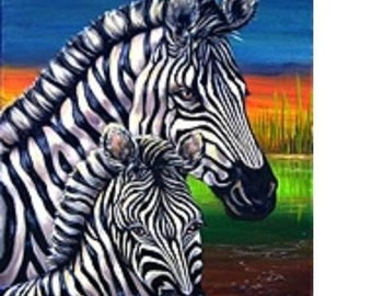 Zebra's mother & child-Original painting, free shipping