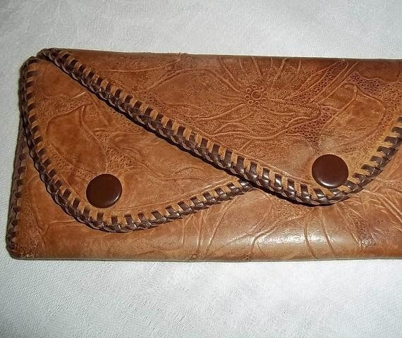 Vintage Tooled Leather double coin purse