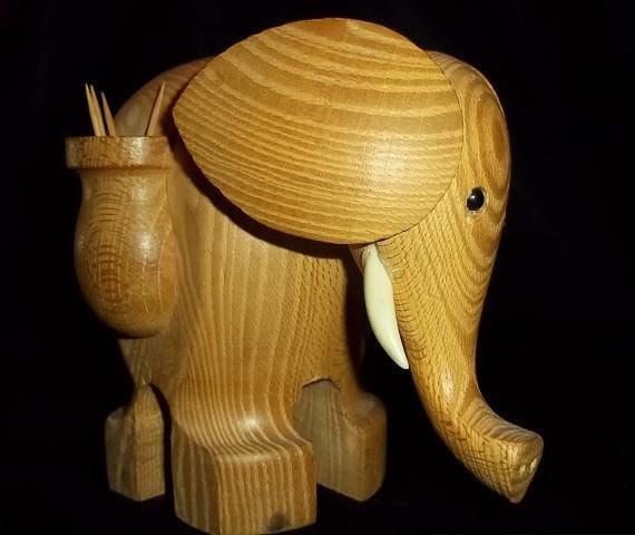 Solid Wood Elephant Toothpick holder, Treasury item