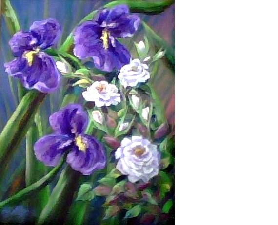 Iris & Rose Garden, original oil