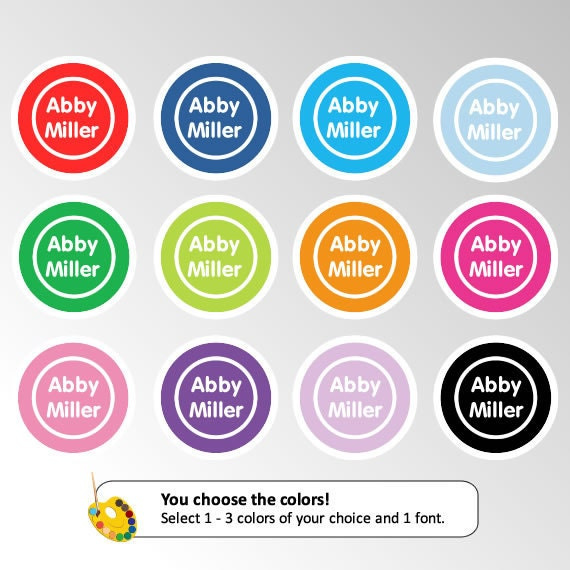 Small Round Kids Labels - Solid (Pick Your Colors) - 48 Labels