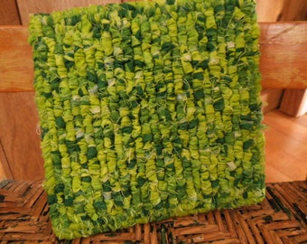 """Hand Hooked Fabric Pot Holder, Table Rug, Kitchen Trivet 6"""" x 6.5"""" Square ,Green / Lime Green, Go Green"""