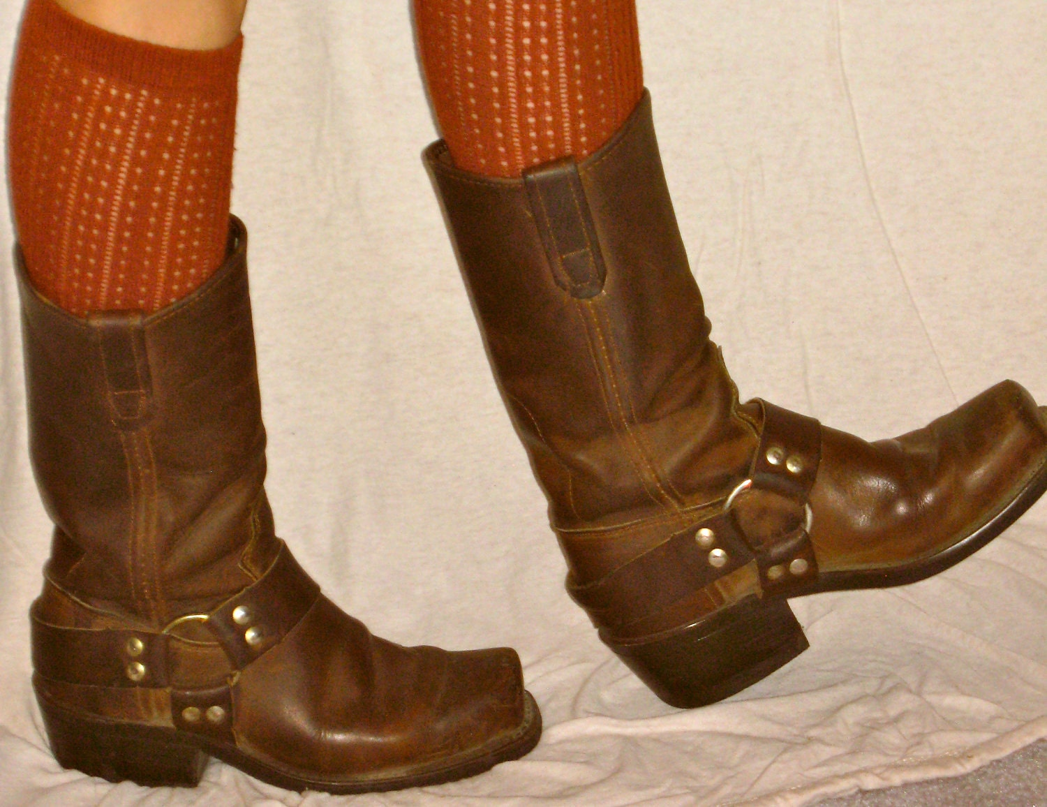 steel toe vintage brown leather biker boots s size